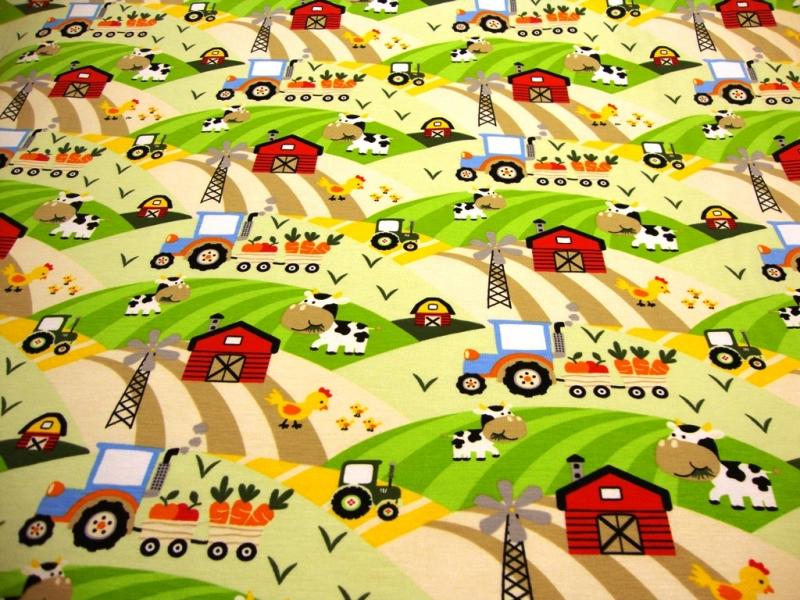 Kleinesbild - Baumwolljersey Druck Trecker, Kuh & Co auf weiss Bauernhof Leben auf dem Bauernhof Kinderstoff für Jungs und Mädchen