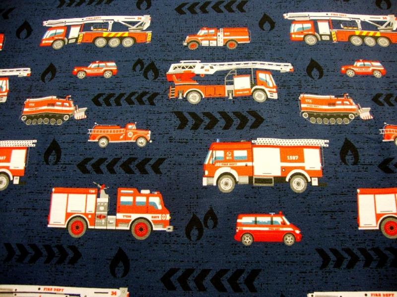 - Baumwolljersey Feuerwehr & Co, auf marine limitierte Auflage Kindestoffe - Baumwolljersey Feuerwehr & Co, auf marine limitierte Auflage Kindestoffe
