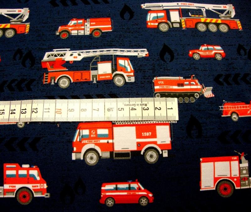 Kleinesbild - Baumwolljersey Feuerwehr & Co, auf marine limitierte Auflage Kindestoffe