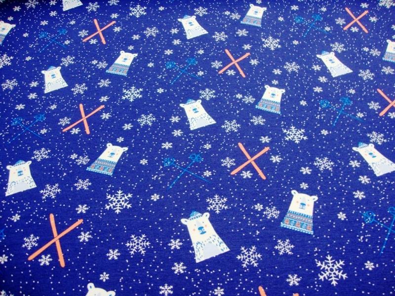 Kleinesbild - French Terry Sweat Eisbären, Schneeflocken, Schiern blau, French Terry Kinder Mädels Jungs