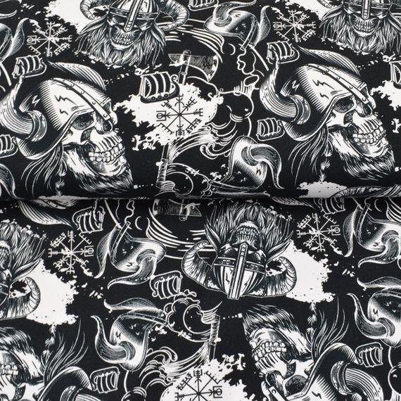 - French Terry Sweatdruck Sommersweat-Viking Skull-schwarz weiss Totenköpfe limited Edition Jungs Männerstoff made EU - French Terry Sweatdruck Sommersweat-Viking Skull-schwarz weiss Totenköpfe limited Edition Jungs Männerstoff made EU