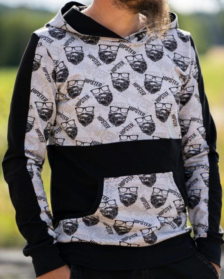 Kleinesbild - Sweat French Terry Druck Hipster by KATINOH Limited Edition schwarz grau Sweat für Jungs Männer