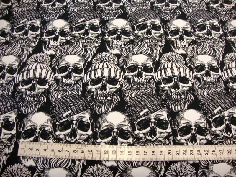Kleinesbild - French Terry Sweatdruck Totenkopf mit Hipster Caps Mütze Schädel und Mützen Skull Totenköpfe Skulis weiß grau schwarz auf weiß für Stoffmasken Frauen Männer Jungs Jugendliche