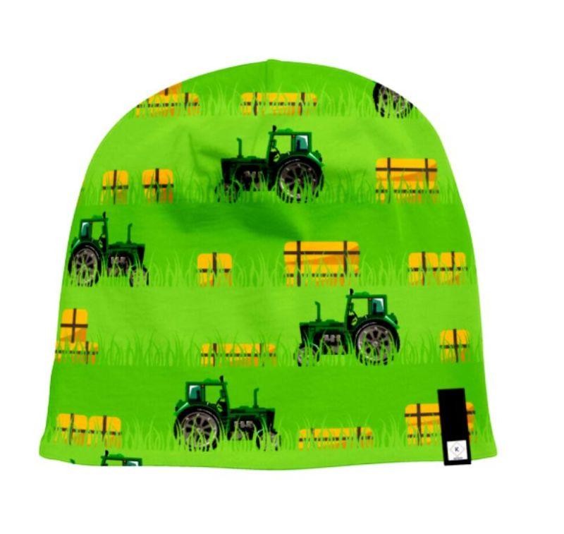 Kleinesbild - Baumwolljersey - Jersey Stoff Green Power-Trecker mit Strohballen– KATINOH - Traktor und Stroh Feld limitierte Auflage Katinoch für Jungs
