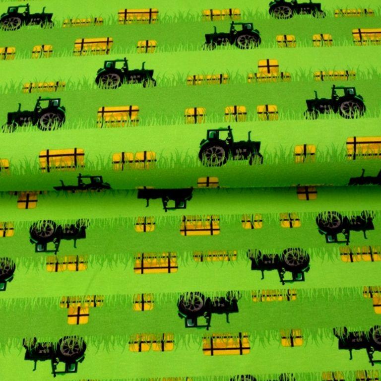 - Baumwolljersey - Jersey Stoff Green Power-Trecker mit Strohballen– KATINOH - Traktor und Stroh Feld limitierte Auflage Katinoch für Jungs - Baumwolljersey - Jersey Stoff Green Power-Trecker mit Strohballen– KATINOH - Traktor und Stroh Feld limitierte Auflage Katinoch für Jungs