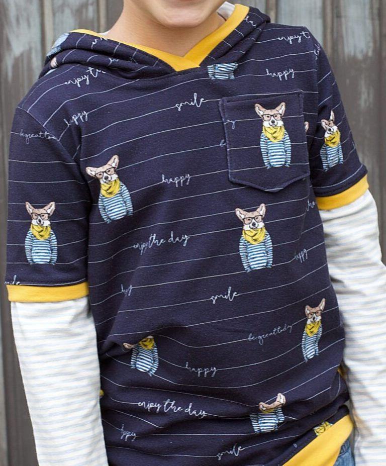 Kleinesbild - French Terry Sommersweat–Fuchs-Happy–smile–gestreift–KATINOH Limited Edition schwarz French Terry Sweatdruck Kinderstoff in EU Jungs Männerstoffe