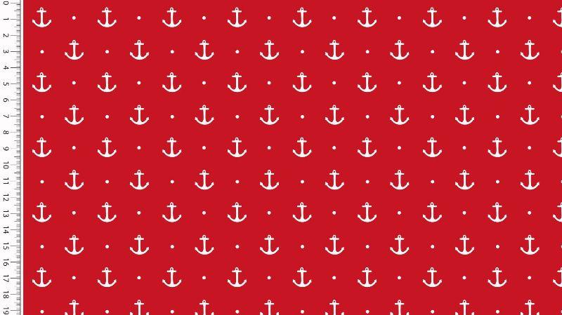 """- Baumwolljersey Stoff """"weisse Anker u. Punkte"""" auf rot Maritim Motive - Baumwolljersey Stoff """"weisse Anker u. Punkte"""" auf rot Maritim Motive"""