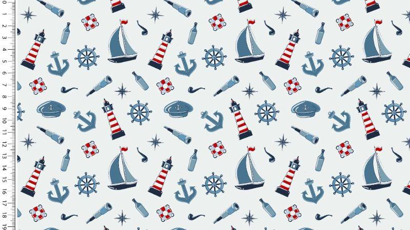 """- Baumwolljersey Stoff """"Maritim Motive"""" weisse rote blaue Anker, Ruder Segel Leuchtturm Schiffe auf weiss - Baumwolljersey Stoff """"Maritim Motive"""" weisse rote blaue Anker, Ruder Segel Leuchtturm Schiffe auf weiss"""