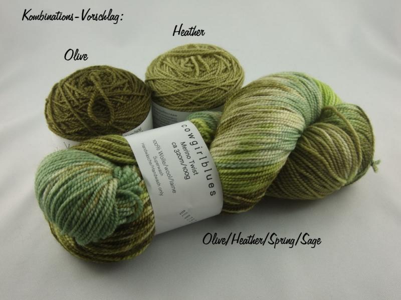 Kleinesbild - Handgefärbte Merino Twist Olive/Heather/Spring/Sage von Cowgirl Blues