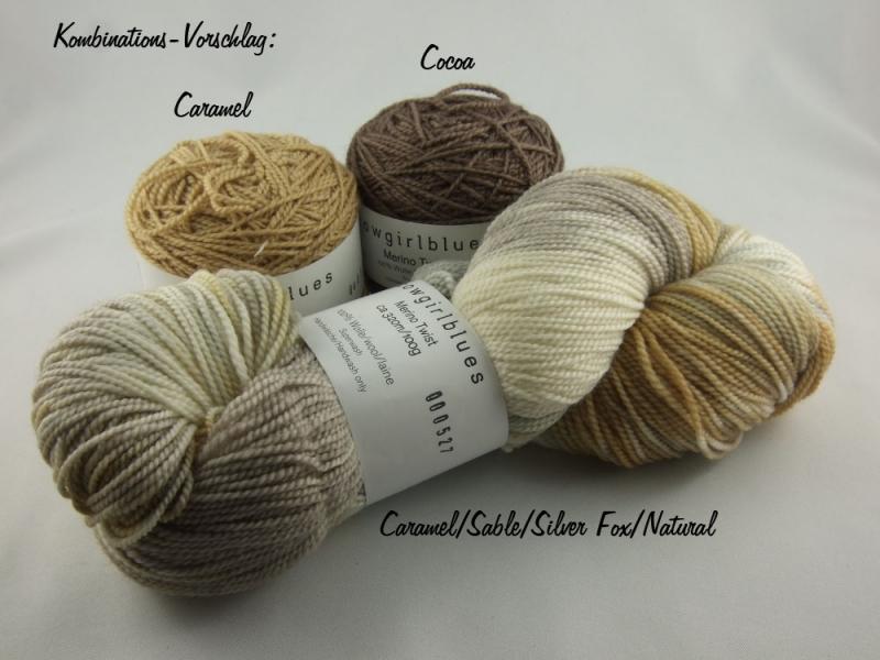 Kleinesbild - Handgefärbte Merino Twist Caramel/Sable/Silver Fox/Natural von Cowgirl Blues