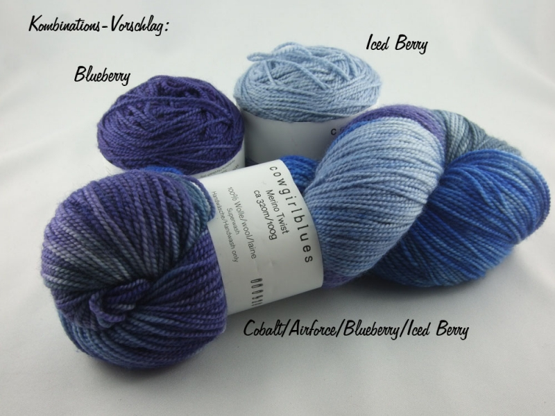 Kleinesbild - Handgefärbte Merino Twist Cobalt/Airforce/Blueberry/Iced Berry von Cowgirl Blues