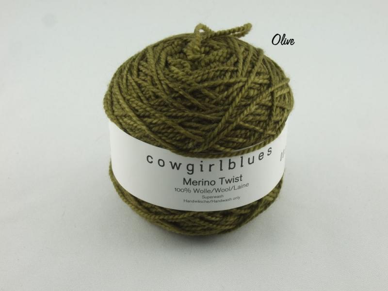 - Handgefärbte Merino Twist Solid Olive von Cowgirl Blues - Handgefärbte Merino Twist Solid Olive von Cowgirl Blues