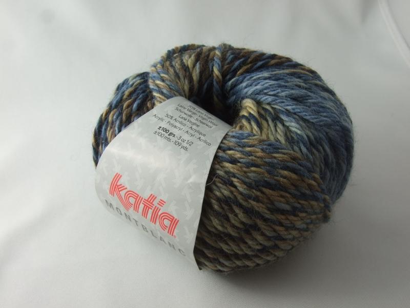 Kleinesbild - schöne Multicolorwolle von Katia Montblanc Farbe 76 in jeansblau und braun