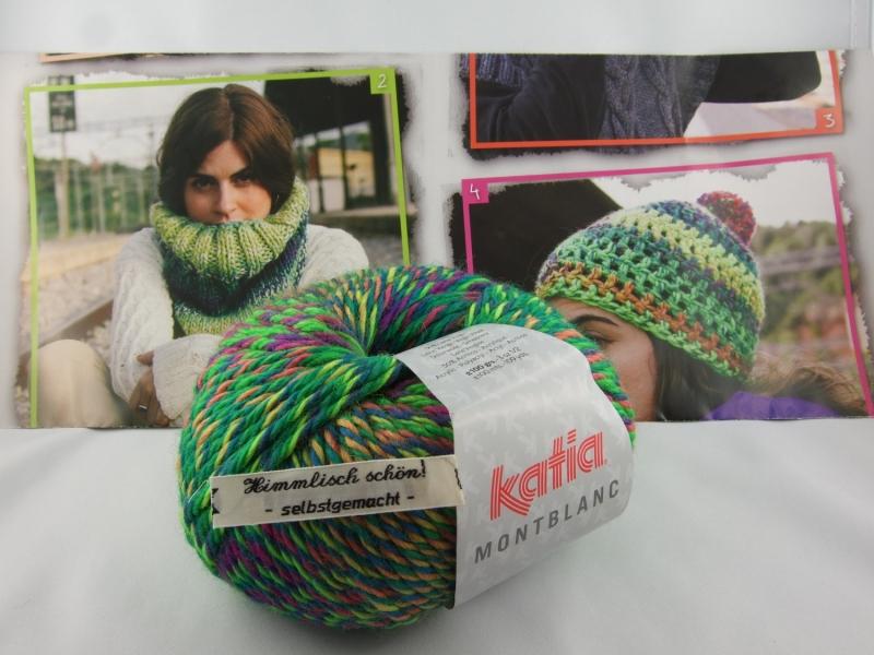 Kleinesbild - schöne Multicolorwolle von Katia Montblanc Farbe 71 in neon grün