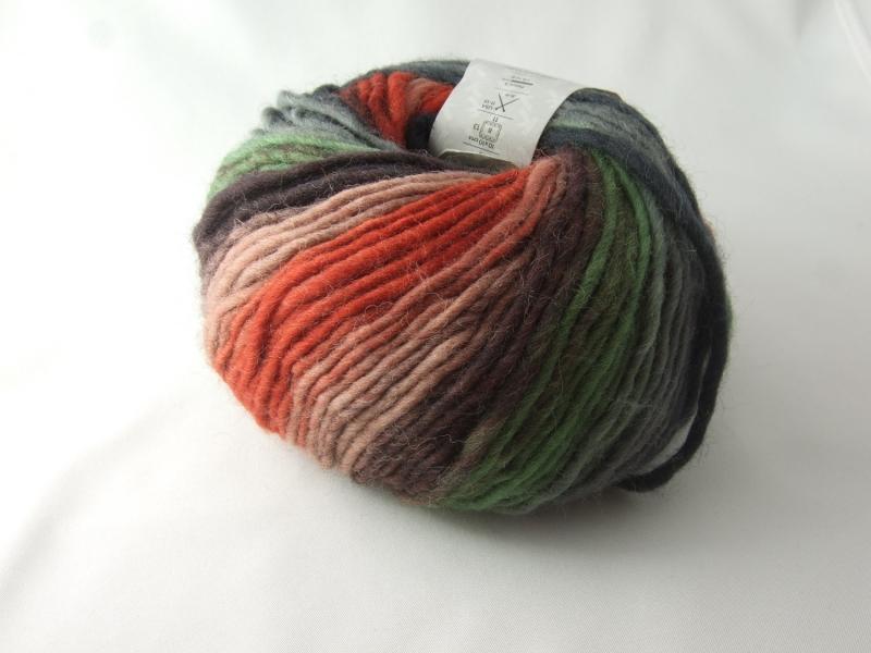 Kleinesbild - schöne Multicolorwolle von Katia Art Wool Farbe 67 in braun, rost, grau und grün