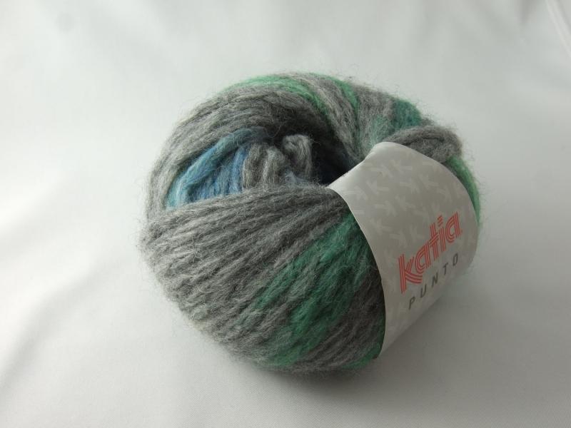- schöne gepunktete Wolle von Katia Punto Farbe 809 in grau mit grünen und blauen Punkten - schöne gepunktete Wolle von Katia Punto Farbe 809 in grau mit grünen und blauen Punkten