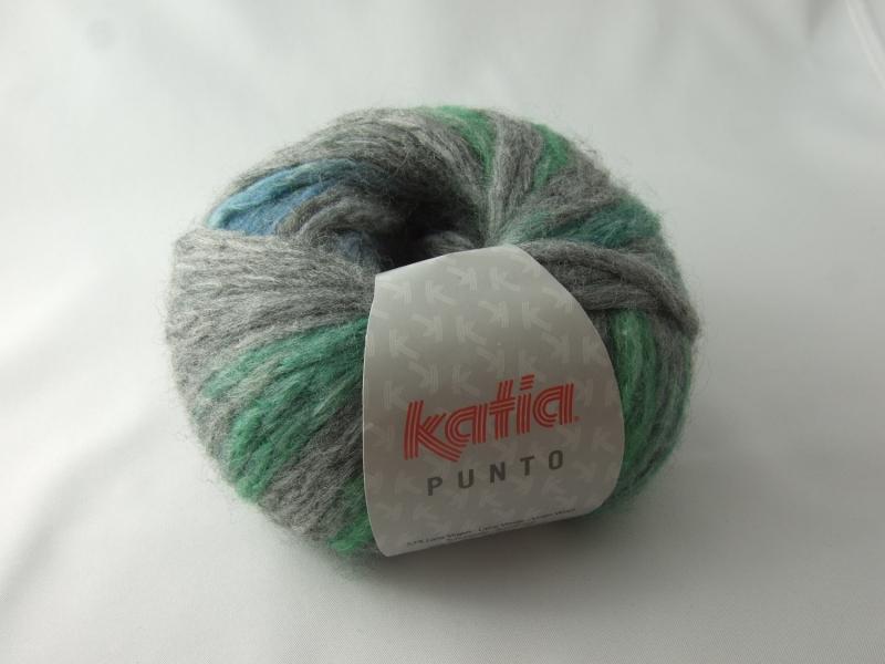 Kleinesbild - schöne gepunktete Wolle von Katia Punto Farbe 809 in grau mit grünen und blauen Punkten