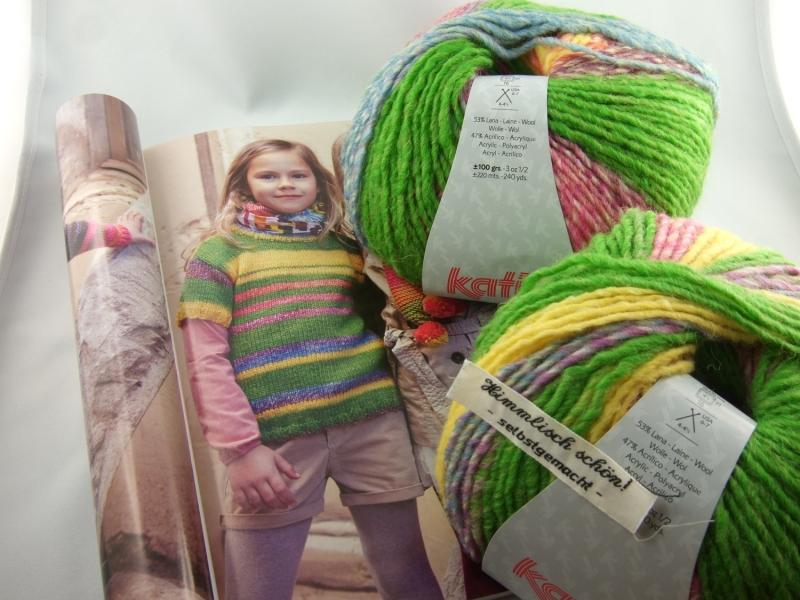 Kleinesbild - schöne Multicolorwolle von Katia City Farbe 953 in grün, gelb und pink