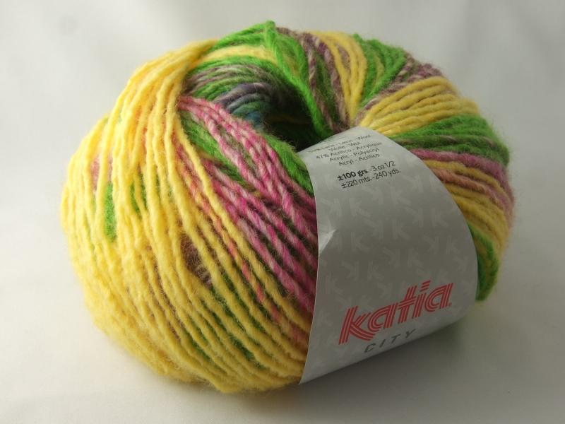 - schöne Multicolorwolle von Katia City Farbe 953 in grün, gelb und pink - schöne Multicolorwolle von Katia City Farbe 953 in grün, gelb und pink