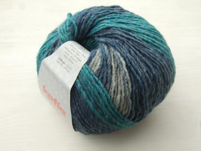 Kleinesbild - schöne Multicolorwolle von Katia City Farbe 903 in türkis, blau und grau
