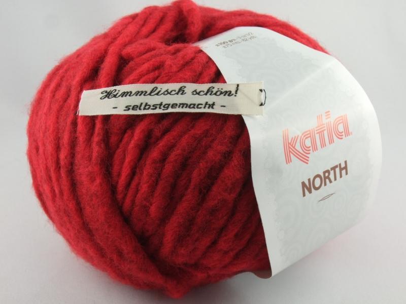 - dickes einfarbiges Garn von Katia North Farbe 80 in rot - dickes einfarbiges Garn von Katia North Farbe 80 in rot