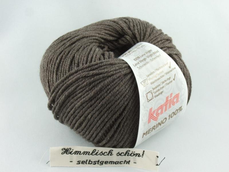 - schöne weiche einfarbige Merinowolle von Katia Merino 100 Farbe 502 in braun - schöne weiche einfarbige Merinowolle von Katia Merino 100 Farbe 502 in braun