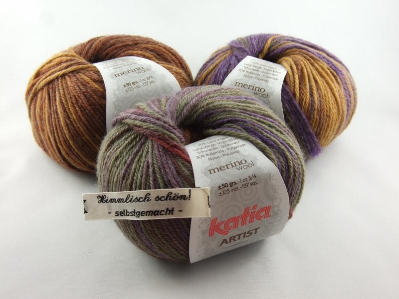 Kleinesbild - schöne weiche Verlaufswolle von Katia Artist Farbe 302 in herbstlich braun, lila und ocker