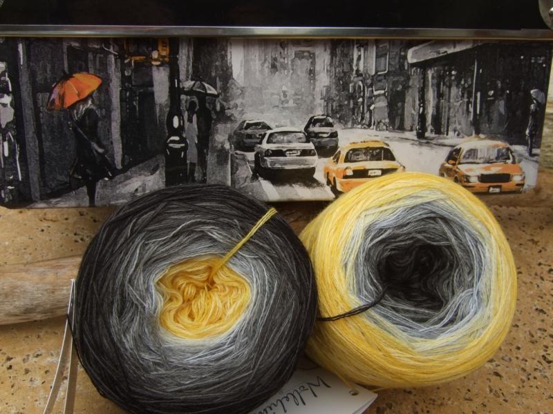 Kleinesbild - 4-fädig gefachtes Farbverlaufsgarn (Bobbel) Wolke 7 NYC Taxi 400m Lauflänge