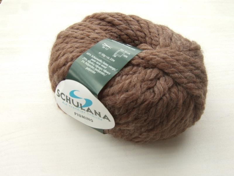 - schöne, dicke Wolle mit Alpakaanteil von Schulana Piumino Farbe 004 in schokobraun - schöne, dicke Wolle mit Alpakaanteil von Schulana Piumino Farbe 004 in schokobraun