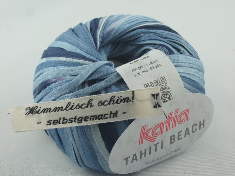 - sommerliches Bändchengarn Tahiti Beach von Katia in Farbe 301: jeansblau - sommerliches Bändchengarn Tahiti Beach von Katia in Farbe 301: jeansblau