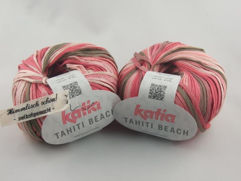 - sommerliches Bändchengarn Tahiti Beach von Katia in Farbe 304: rosa und braun - sommerliches Bändchengarn Tahiti Beach von Katia in Farbe 304: rosa und braun