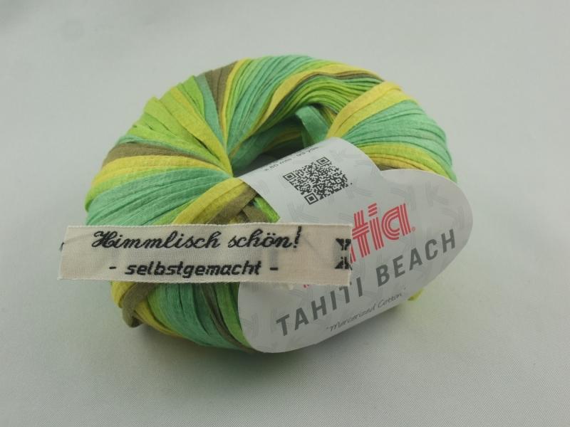 - sommerliches Bändchengarn Tahiti Beach von Katia in Farbe 306: grün und gelb - sommerliches Bändchengarn Tahiti Beach von Katia in Farbe 306: grün und gelb