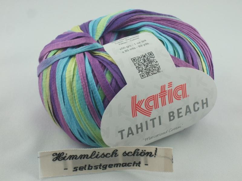 - sommerliches Bändchengarn Tahiti Beach von Katia in Farbe 308: türkis und lila - sommerliches Bändchengarn Tahiti Beach von Katia in Farbe 308: türkis und lila