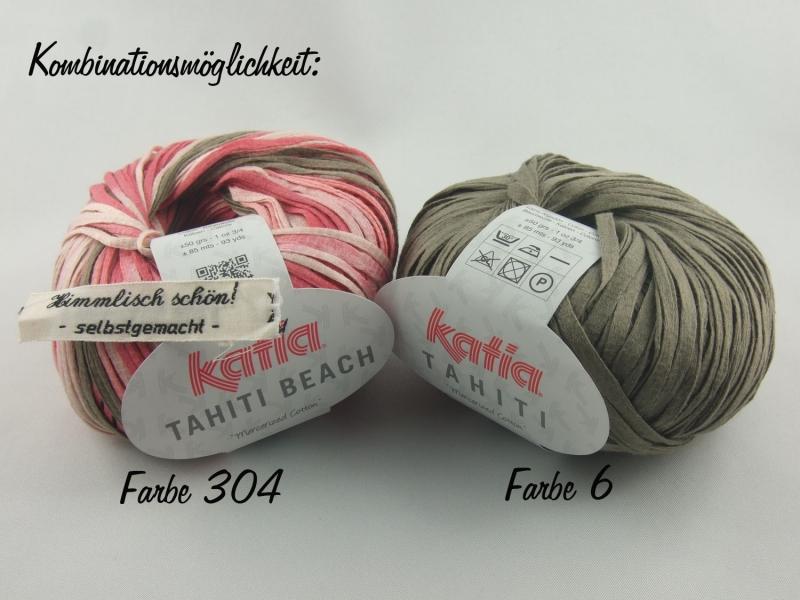 Kleinesbild - sommerliches Bändchengarn Tahiti von Katia in Farbe 6: braun