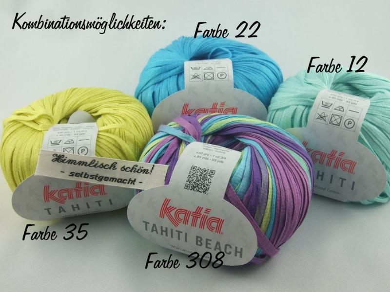 Kleinesbild - sommerliches Bändchengarn Tahiti von Katia in Farbe 12: türkis