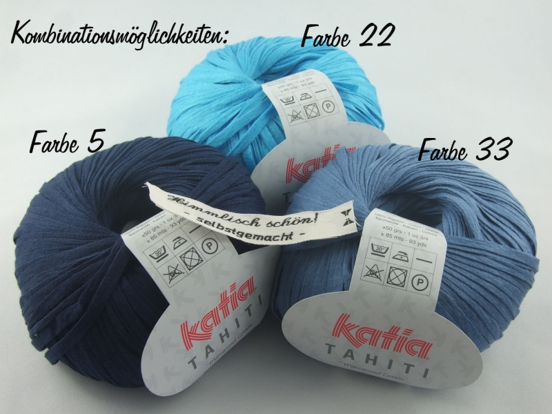 Kleinesbild - sommerliches Bändchengarn Tahiti von Katia in Farbe 33: jeansblau