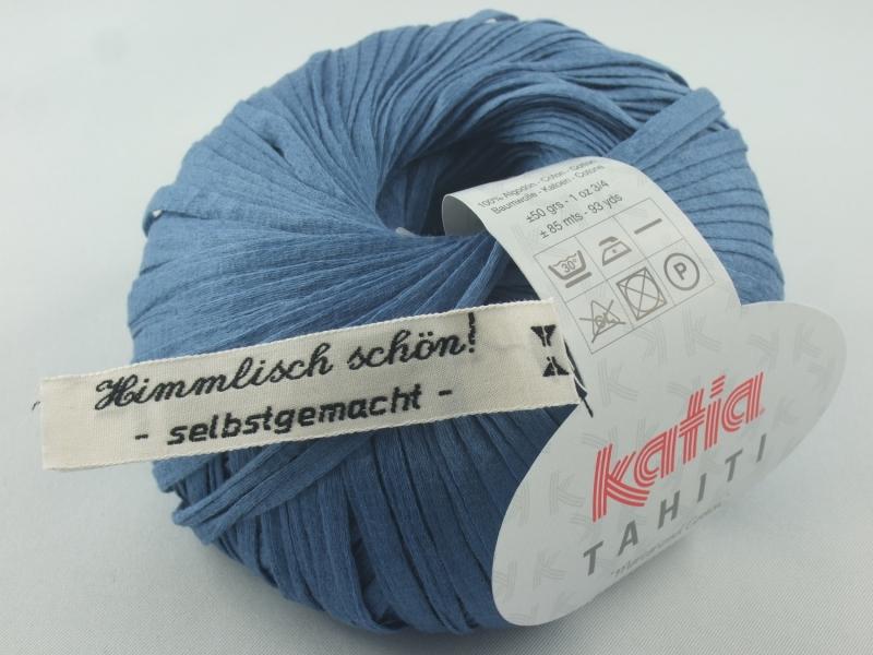 - sommerliches Bändchengarn Tahiti von Katia in Farbe 33: jeansblau - sommerliches Bändchengarn Tahiti von Katia in Farbe 33: jeansblau