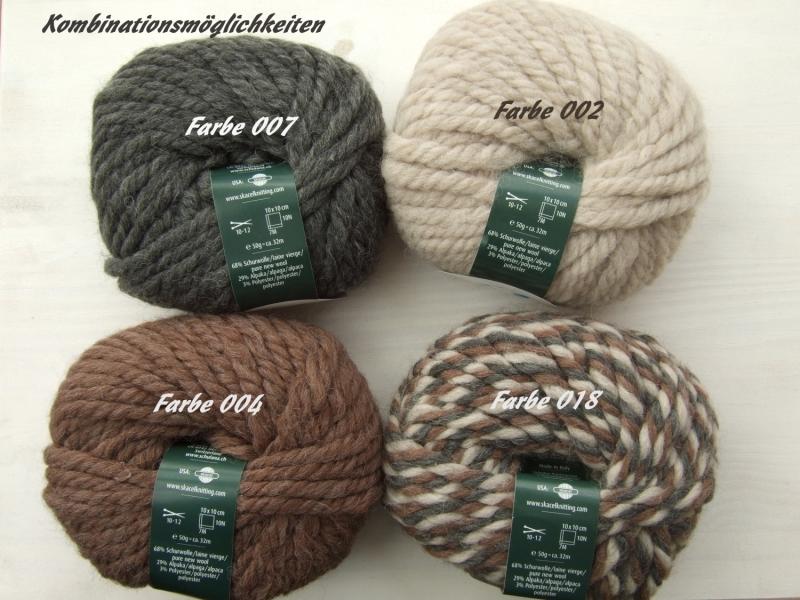 Kleinesbild - schöne, dicke Wolle mit Alpakaanteil von Schulana Piumino Farbe 002 in steinbraun