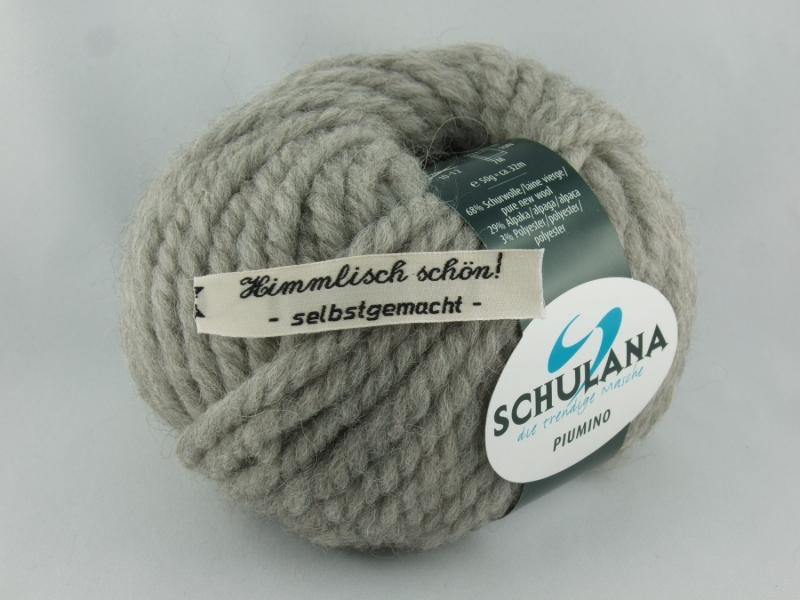Kleinesbild - schöne, dicke Wolle mit Alpakaanteil von Schulana Piumino Farbe 005 in hellgrau
