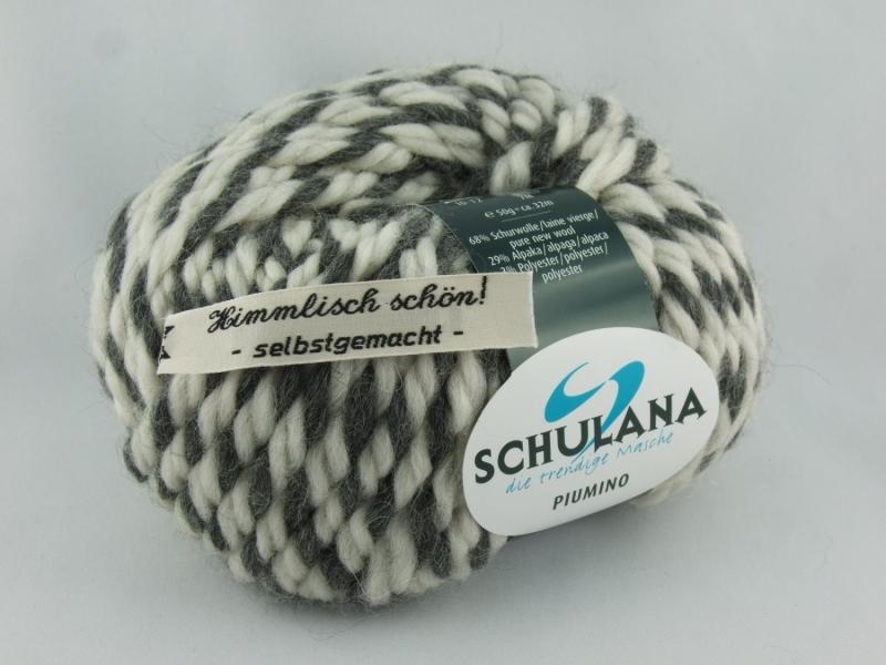 Kleinesbild - schöne, dicke Wolle mit Alpakaanteil von Schulana Piumino Farbe 013 in hellgrau-anthrazit meliert