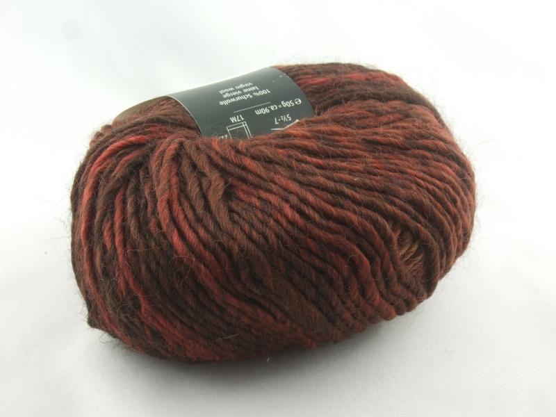 Kleinesbild - schöne melierte Schurwolle von Schulana: Country Farbe Nr. 80, rostbraun meliert