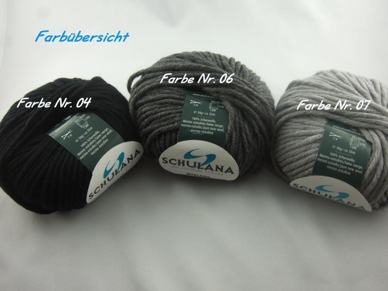 Kleinesbild - dicke einfarbige Schurwolle Merino extrafein von Schulana: Merlana Farbe Nr. 06, dunkelgrau