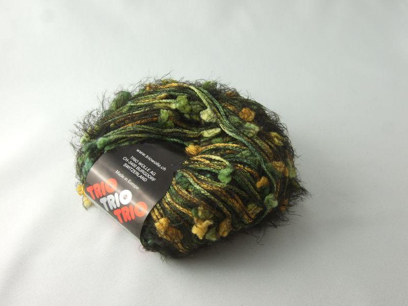 - flauschige Fransenwolle Trio Fiocco in schwarz, grün und gelb mit Noppen  - flauschige Fransenwolle Trio Fiocco in schwarz, grün und gelb mit Noppen