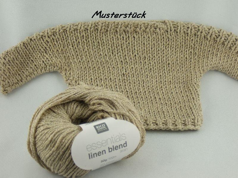 Kleinesbild - Essentials linen blend aran von Rico Design, ein sommerliches Baumwollgarn in Aranstärke mit Leinen- und Viskoseanteil in Farbe 001: wollweiß