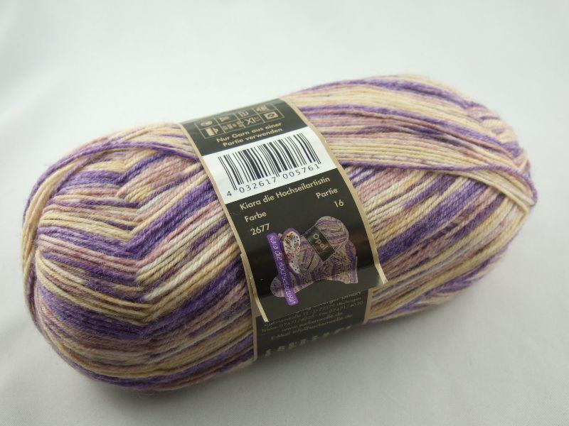 - schöne 4-fach Sockenwolle von Opal Sinne verstricken in beige mit flieder, Farbe Nr. 2677 - schöne 4-fach Sockenwolle von Opal Sinne verstricken in beige mit flieder, Farbe Nr. 2677
