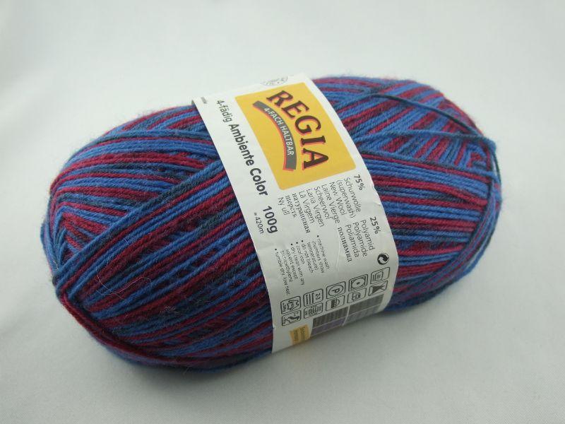 Kleinesbild - schöne 4-fach Sockenwolle Ambiente Color von Regia in blau und rot, Farbe Nr. 4551