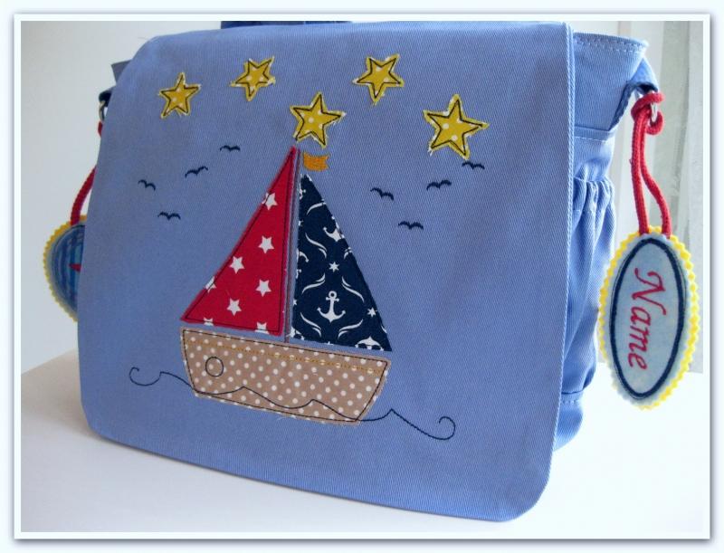 Kleinesbild - Kindergartenrucksack  Schiff  ... mit deinem Wunschname ---> SOFORT ZU HABEN