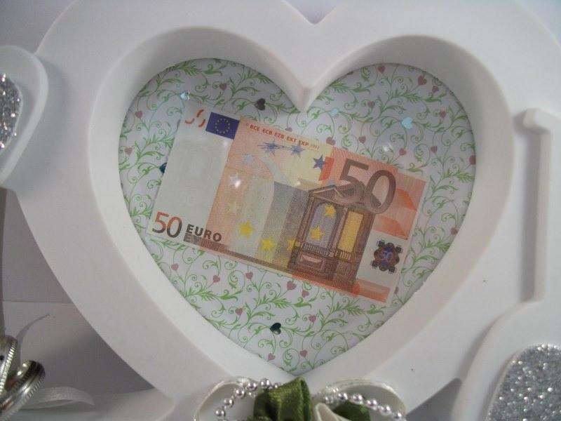 Kleinesbild - Geldgeschenk zur Hochzeit, Bilderrahmen LOVE, grün-creme