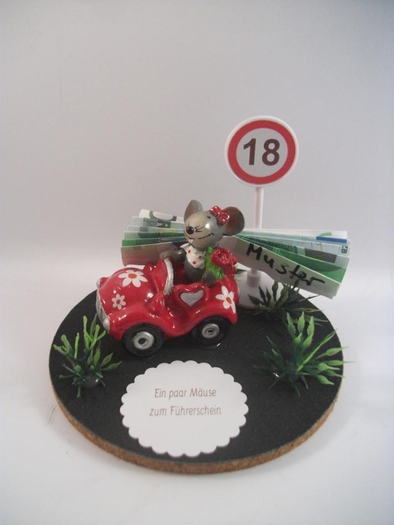 Kleinesbild - Geldgeschenk Geburtstag, Mäuse, Führerschein, Auto, 18, Maus im Auto