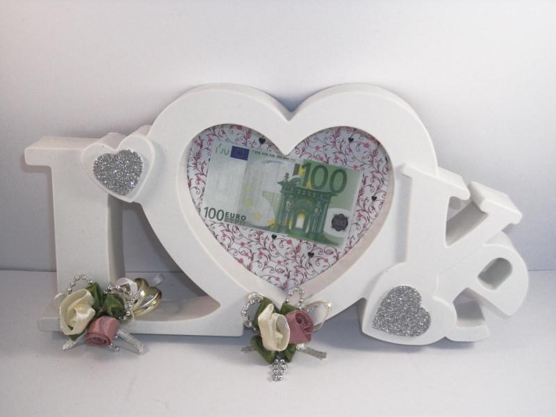 Anlasse Geldgeschenk Zur Hochzeit Bilderrahmen Love Altrosa Creme